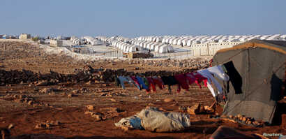 A general view of a refugee camp near Atimah village, Idlib province, Syria, Sept. 11, 2018.