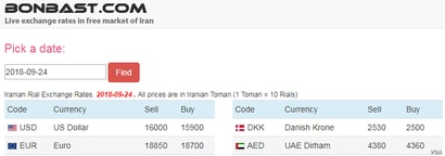 A screenshot of the Bonbast.com website, which tracks Iran's unofficial exchange rates, showed the Iranian currency at a record low of 16,000 tomans, or 160,000 rials, to the dollar on Sept. 24, 2018.