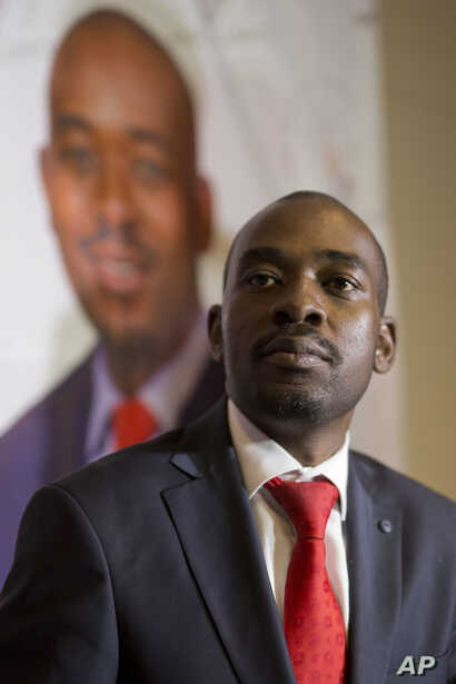 Zimbabwean's main opposition candidate, Nelson Chamisa, speaks at a news conference in Harare, Zimbabwe, Aug. 2, 2018.
