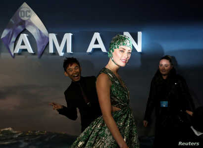 Actor Amber Heard attends the world premiere of 'Aquaman' movie in London, Nov. 26, 2018.
