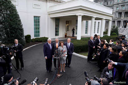 From left, House Majority Leader Steny Hoyer, Senate Minority Leader Chuck Schumer, Speaker of the House Nancy Pelosi (D-CA) and Senator Dick Durbin speak after meeting on the 19th day of a partial government shutdown with President Donald Trump at t...