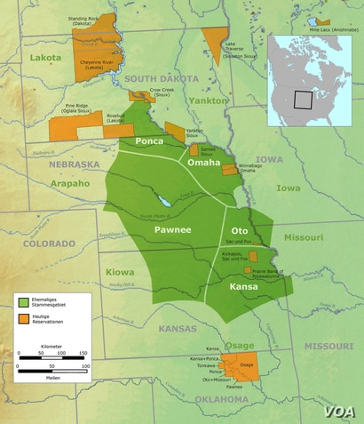 Tribal territory of Pawnee, Ponca, Omaha, Otoe, Kansa peoples (labeled in green) and contemporary Indian Reservations (labeled in orange). Background map courtesy of Demis, www.demis.nl.