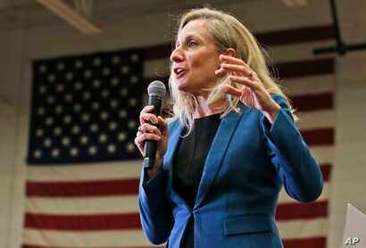 FILE - Seventh District Congressional candidate Abigail Spanberger speaks during a rally in Richmond, Va., Nov. 5, 2018.