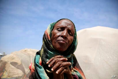 An elderly woman at the IDP camp in Baidoa, Somalia, March 7, 2017, where the drought is severe.