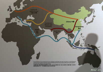 """Map illustrating China's """"One Belt, One Road"""" megaproject at the Asian Financial Forum in Hong Kong, Jan. 18, 2016."""