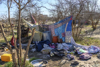 A tent is pictured at a makeshift camp for Islamic State members and their families in Baghuz, in the eastern Syrian province of Deir el-Zour, March 9, 2019.