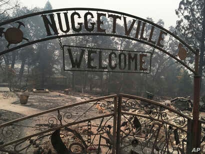 """The Gold Nugget Museum, which was totally demolished by the """"Camp Fire,"""" is shown in Paradise, California, Nov. 14, 2018."""
