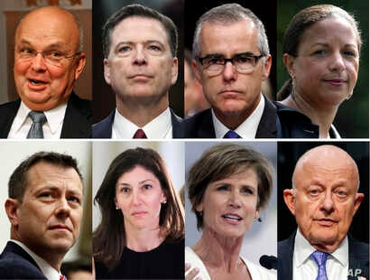 These file photos, top row from left are former CIA Director Michael Hayden, former FBI Director James Comey, former acting FBI director Andrew McCabe and former national security adviser Susan Rice. Bottom row from left are former FBI Deputy Assista...