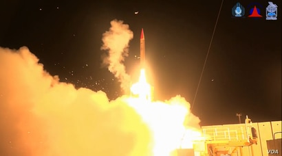 An Arrow 3 anti-missile interceptor, jointly developed by the Israeli and U.S. governments, is test-fired from central Israel on February 19, 2018. Officials of both governments said the interceptor successfully reached a simulated target outside of ...