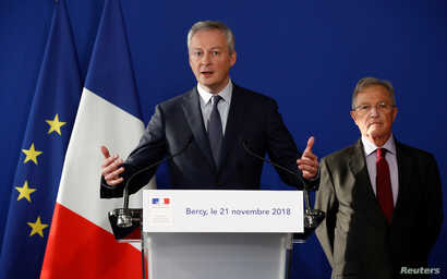 French Finance Minister Bruno Le Maire speaks during a news conference about the situation with Renault, at the Bercy Finance Ministry in Paris, Nov. 21, 2018.