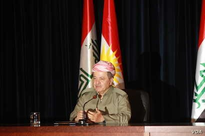 Kurdish President Masound Barzani says he believes some of the international alarm surrounding the referendum will subside after the measure is passed, in Irbil, Iraqi Kurdistan, Sept. 24, 2017. (H. Shekha/VOA)