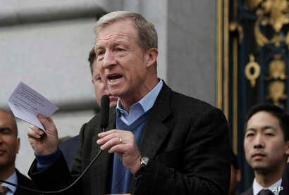 Environmental activist Tom Steyer speaks at a rally for clean energy in San Francisco,  Feb. 28, 2018.