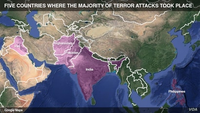 Five countries where the majority of terror attacks took place