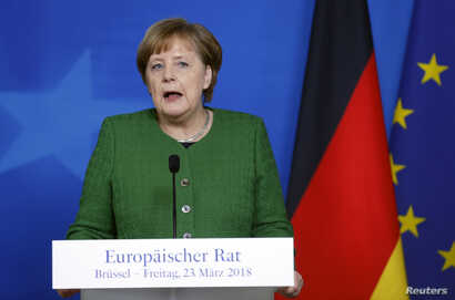 German Chancellor Angela Merkel attends a news conference at a European Union leaders summit in Brussels, Belgium, March 23, 2018.