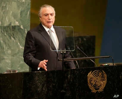 Brazilian President Michel Temer addresses the United Nations General Assembly at U.N. headquarters, Sept. 19, 2017.