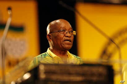 South African President and President of the African National Congress, Jacob Zuma, addresses delegates at the delayed start of the ANC elective conference in Johannesburg, Dec. 16 2017.