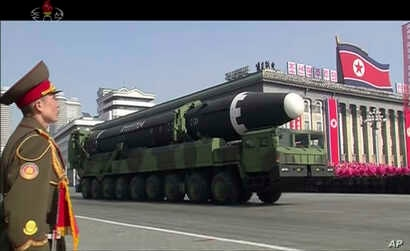 In this image made from video by North Korea's KRT, a military parade is held in Pyongyang, North Korea, Feb. 8, 2018. North Korea's intercontinental ballistic missiles highlighted the event.