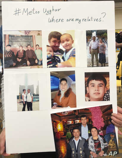A poster showing missing relatives is displayed during a gathering to raise awareness about loved ones who have disappeared in China's far west in Washington D.C., Feb. 24, 2019.