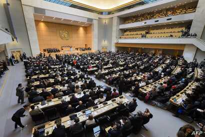 A geneval view at the opening of the World Health Assembly, with some 3,000 delegates from its 194 member states in Geneva, Switzerland, May 23, 2016.