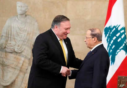 U.S. Secretary of State Mike Pompeo meets with Lebanon's President Michel Aoun at the presidential palace in Baabda, Lebanon, March 22, 2019.