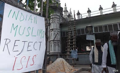 Anti-Islamic State posters are seen around a mosque in Kolkata, India, Dec. 5, 2015. Muslims in India have condemned Islamic State as an un-Islamic group. (Photo - S. Azizur Rahman/VOA)