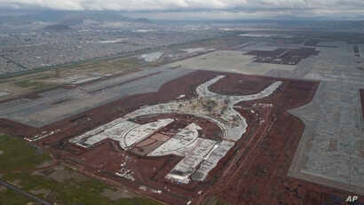 FILE - Progress is seen on the construction of new airport in Texcoco, Mexico, Oct. 17, 2018.
