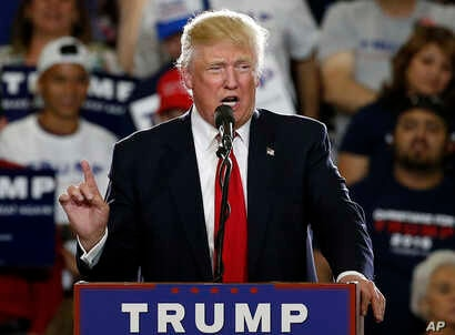 FILE -  Republican presidential candidate Donald Trump speaks in Albuquerque, N.M.