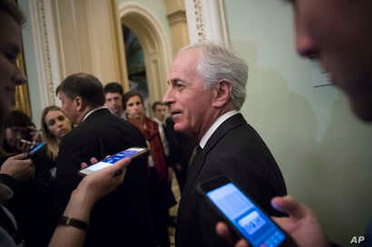 FILE - Senate Foreign Relations Committee Chairman Bob Corker, R-Tenn., leaves a weekly GOP policy lunch on Capitol Hill in Washington, March 20, 2018.