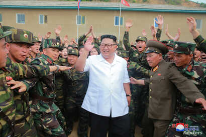 North Korea leader Kim Jong Un inspects Unit 1524 of the Korean People's Army in this undated photo released by North Korea's Korean Central News Agency, June 30, 2018.