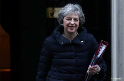 Britain's Prime Minister Theresa May leaves 10 Downing Street in London, Jan. 18, 2017.
