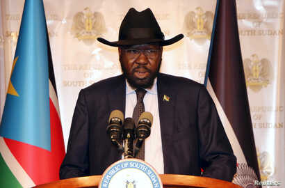 South Sudan's President Salva Kiir addresses the nation during an independence day event at the Presidential palace in Juba, July 9, 2017.