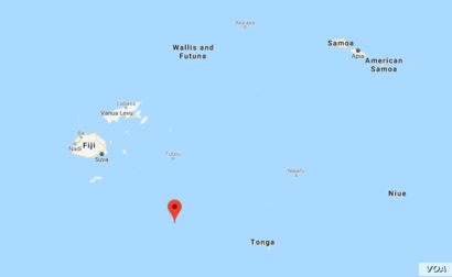 The U.S. Geological Survey says a magnitude-8.2 quake hit at a depth of 560 kilometers (348 miles) and was located 280 kilometers (174 miles) northeast of Fiji's Ndoi Island (red pin).