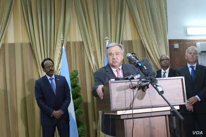 UN Secretary-General Antonio Guterres, addresses the media in Mogadishu, Somalia, March 7, 2017.