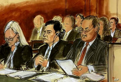 In this courtroom sketch Mehmet Hakan Atilla, second from left, listens to the judge during his sentencing, flanked by his attorneys Cathy Fleming, left, and Victor Rocco as Atilla's wife listens to the proceedings, May 16, 2018, in New York.