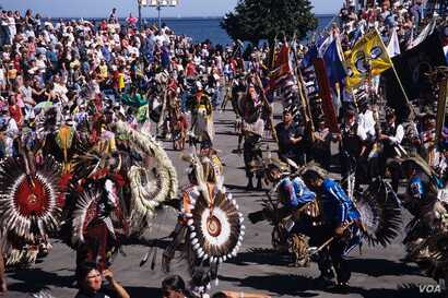 This September 9, 2018 photo shows dancers at a pow wow, part of Indian Summer Festival, which takes place each year on the weekend after Labor Day in Milwaukee, Wi.  Courtesy:  AIANTA