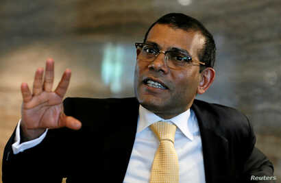 Maldives former president Mohamed Nasheed speaks during an interview with Reuters in Colombo, Sri Lanka March 29, 2017.
