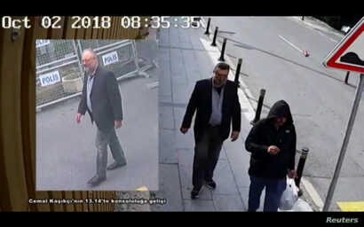 Still images taken from two different CCTV videos and obtained by Turkish security sources claim to show Saudi journalist Jamal Khashoggi as he arrives at Saudi Arabia's Consulate and another man allegedly wearing Khashoggi's clothes while walking in...