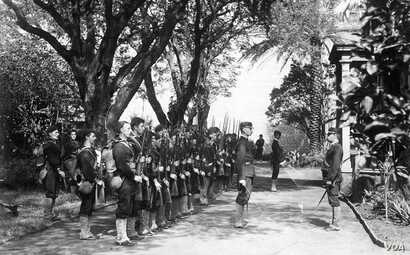 USS Boston's landing force of U.S. Marines on duty at the Arlington Hotel, Honolulu, at the time of the overthrow of the Hawaiian monarchy, January 1893.