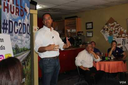 U.S. Congressman Will Hurd talks to constituents at a cafe in Presidio, Texas, August 7, 2017.