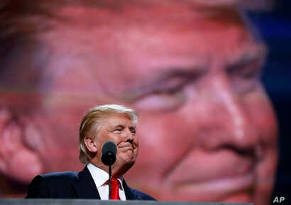 Republican presidential candidate Donald Trump speaks during the final day of the Republican National Convention in Cleveland, Ohio, July 21, 2016.