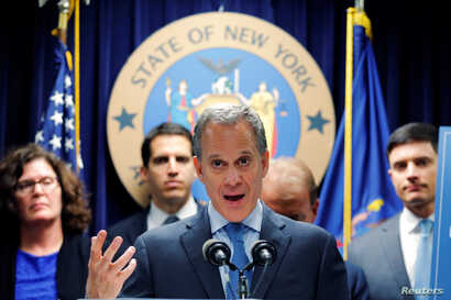 FILE - New York Attorney General Eric Schneiderman in New York, U.S., June 28, 2016.