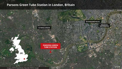 map of parsons green subway in london britain