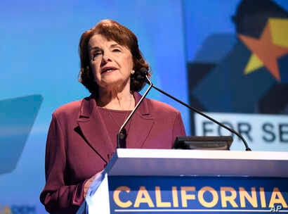 Sen. Dianne Feinstein, D-Calif., speaks at the 2018 California Democrats State Convention Saturday, Feb. 24, 2018, in San Diego.
