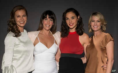 "In this May 20, 2017 photo, Connie Nielsen, from left, director Patty Jenkins, Gal Gadot, and Robin Wright pose for a portrait at the ""Wonder Woman"" junket in Culver City, Calif."