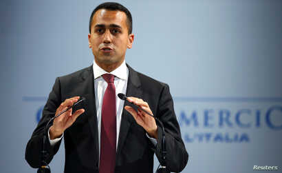 Italian Minister of Labor and Industry Luigi Di Maio speaks at the Italian Business Association Confcommercio meeting in Rome, Italy, June 7, 2018.