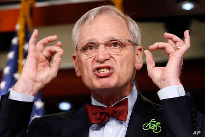 Rep. Earl Blumenauer, D-Ore., speaks about green infrastructure during a news conference, Feb. 8, 2018, on Capitol Hill in Washington.