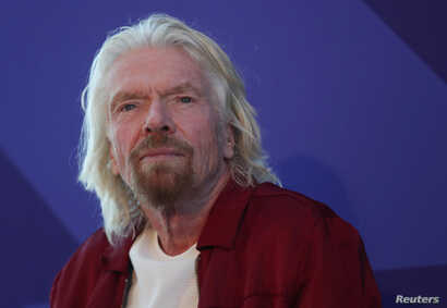 Richard Branson listens to a question at a press briefing in New York, Feb. 14, 2019.