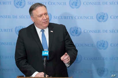 U.S. Secretary of State Mike Pompeo speaks to reporters, Dec. 12, 2018, at United Nations headquarters.