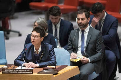 Assistant Secretary-General for Humanitarian Affairs and Deputy Emergency Relief Coordinator Ursula Mueller speaks during a Security Council meeting on the situation in Syria, April 25, 2018 at United Nations headquarters.