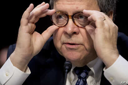 Attorney General nominee William Barr testifies during a Senate Judiciary Committee hearing on Capitol Hill in Washington, Jan. 15, 2019.